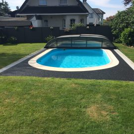 Steinteppich verlegen Swimming Pool