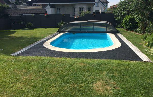 Steinteppich verlegen Swimming Pool